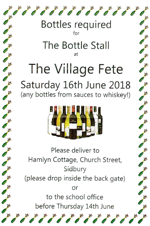 Bottles for Village Fete