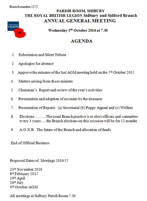British Legion AGM
